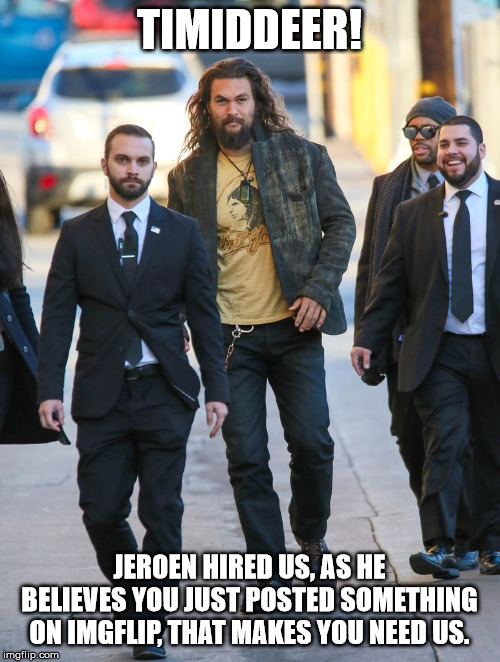 Jason Momoa Bodyguards | TIMIDDEER! JEROEN HIRED US, AS HE BELIEVES YOU JUST POSTED SOMETHING ON IMGFLIP, THAT MAKES YOU NEED US. | image tagged in jason momoa bodyguards | made w/ Imgflip meme maker