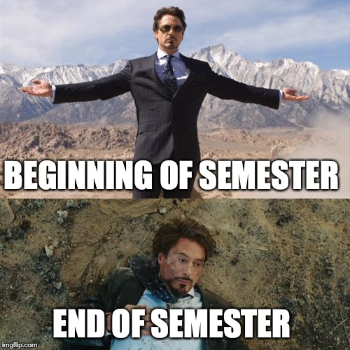 BEGINNING OF SEMESTER END OF SEMESTER | image tagged in before and after | made w/ Imgflip meme maker