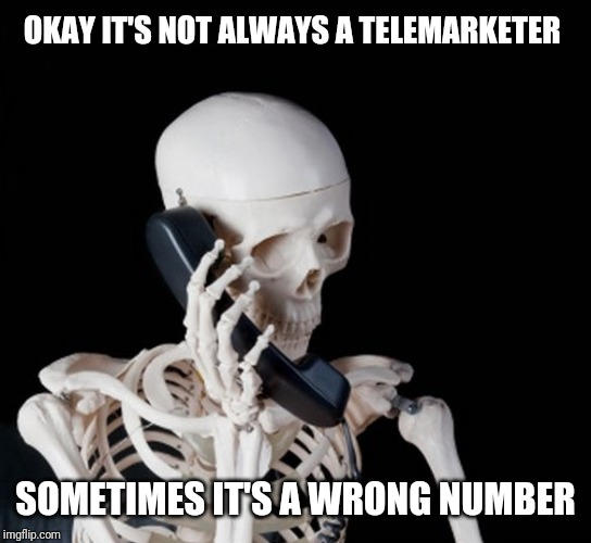 Skeleton on phone | OKAY IT'S NOT ALWAYS A TELEMARKETER SOMETIMES IT'S A WRONG NUMBER | image tagged in skeleton on phone | made w/ Imgflip meme maker