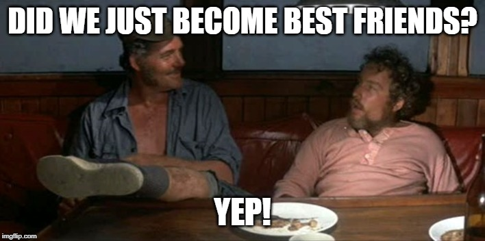 Blood Brothers | DID WE JUST BECOME BEST FRIENDS? YEP! | image tagged in jaws movie,quint,hooper,leg scars,movie mashup,stepbrothers | made w/ Imgflip meme maker