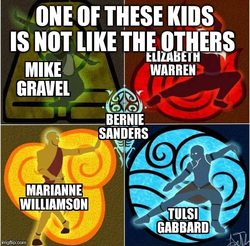 4 of these kids are kinda the same | ONE OF THESE KIDS IS NOT LIKE THE OTHERS | image tagged in sesame street,bernie sanders,marianne,tulsi,gravel,elizabeth warren | made w/ Imgflip meme maker
