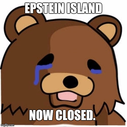 EPSTEIN ISLAND NOW CLOSED. | image tagged in sad pedobear | made w/ Imgflip meme maker