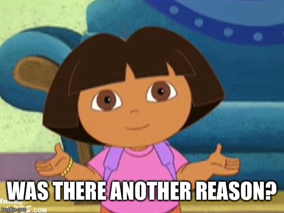 Dilemma Dora | WAS THERE ANOTHER REASON? | image tagged in dilemma dora | made w/ Imgflip meme maker