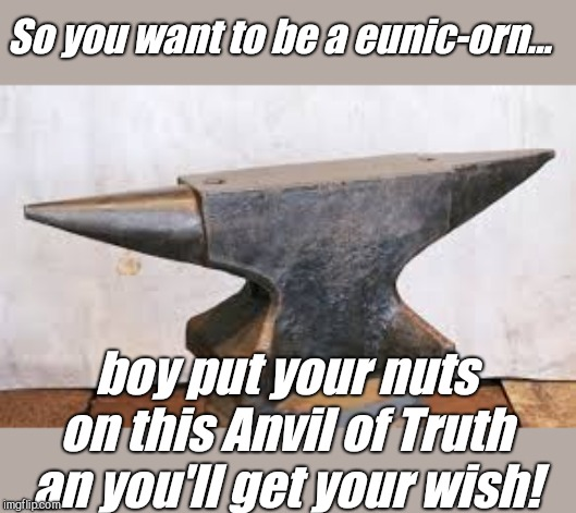 So you want to be a eunic-orn... boy put your nuts on this Anvil of Truth an you'll get your wish! | made w/ Imgflip meme maker