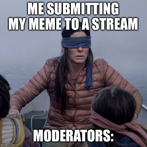 I wonder will this feature? | ME SUBMITTING MY MEME TO A STREAM MODERATORS: | image tagged in memes,bird box | made w/ Imgflip meme maker