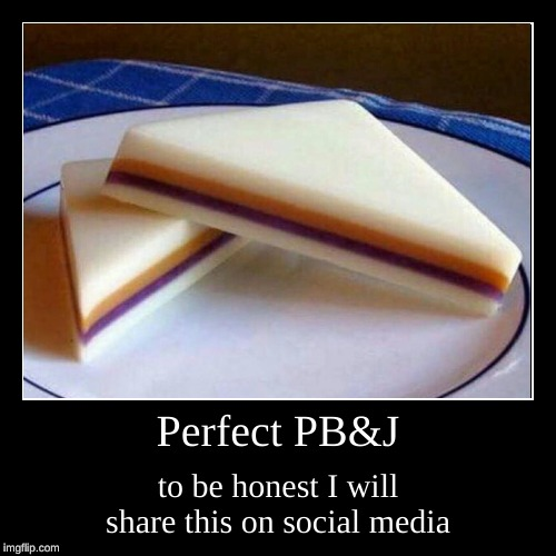 Perfect PB&J | to be honest I will share this on social media | image tagged in funny,demotivationals | made w/ Imgflip demotivational maker