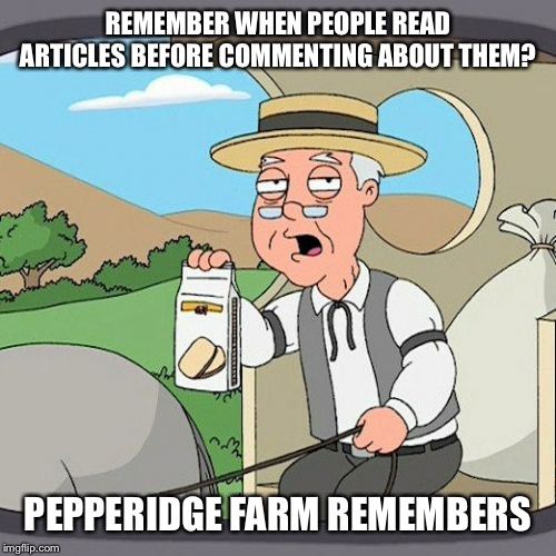 Pepperidge Farm Remembers Meme | REMEMBER WHEN PEOPLE READ ARTICLES BEFORE COMMENTING ABOUT THEM? PEPPERIDGE FARM REMEMBERS | image tagged in memes,pepperidge farm remembers | made w/ Imgflip meme maker