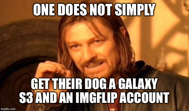 One Does Not Simply Meme | ONE DOES NOT SIMPLY GET THEIR DOG A GALAXY S3 AND AN IMGFLIP ACCOUNT | image tagged in memes,one does not simply | made w/ Imgflip meme maker