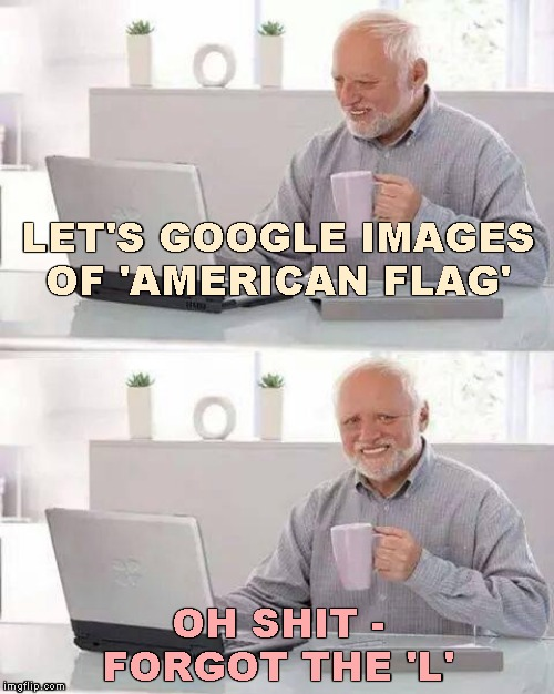 Inspired by SpursFanFromAround | LET'S GOOGLE IMAGES OF 'AMERICAN FLAG' OH SHIT - FORGOT THE 'L' | image tagged in memes,hide the pain harold,spursfanfromaround,google search | made w/ Imgflip meme maker