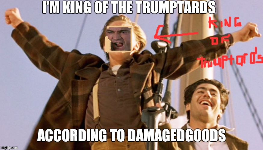 Leonardo DiCaprio Titanic | I'M KING OF THE TRUMPTARDS ACCORDING TO DAMAGEDGOODS | image tagged in leonardo dicaprio titanic | made w/ Imgflip meme maker