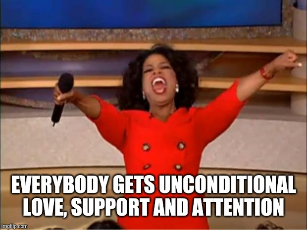 Oprah You Get A | EVERYBODY GETS UNCONDITIONAL LOVE, SUPPORT AND ATTENTION | image tagged in memes,oprah you get a | made w/ Imgflip meme maker