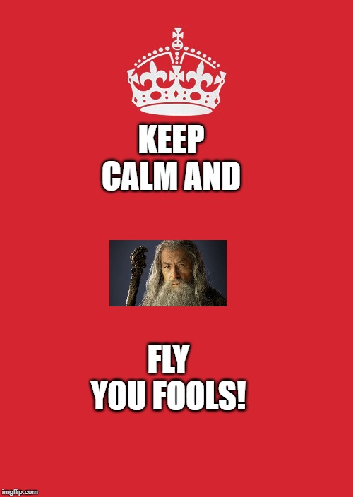 Keep Calm And Carry On Red | KEEP CALM AND FLY YOU FOOLS! | image tagged in memes,keep calm and carry on red | made w/ Imgflip meme maker