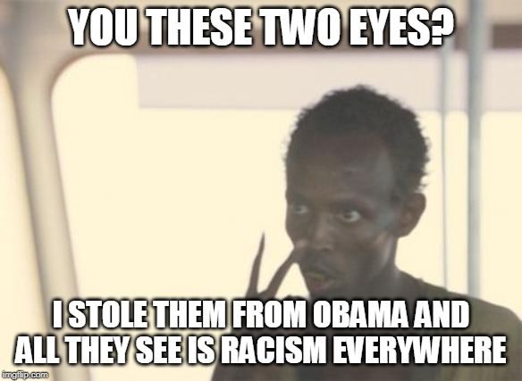 I'm The Captain Now Meme | YOU THESE TWO EYES? I STOLE THEM FROM OBAMA AND ALL THEY SEE IS RACISM EVERYWHERE | image tagged in memes,i'm the captain now | made w/ Imgflip meme maker