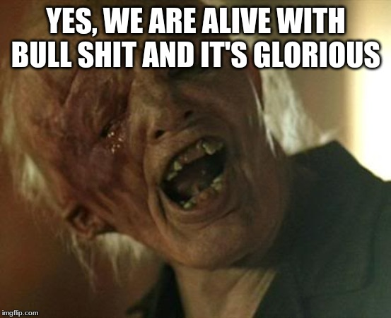 Hills have eyes  | YES, WE ARE ALIVE WITH BULL SHIT AND IT'S GLORIOUS | image tagged in hills have eyes | made w/ Imgflip meme maker