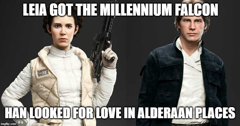LEIA GOT THE MILLENNIUM FALCON HAN LOOKED FOR LOVE IN ALDERAAN PLACES | image tagged in princess leil  han solo divorced | made w/ Imgflip meme maker