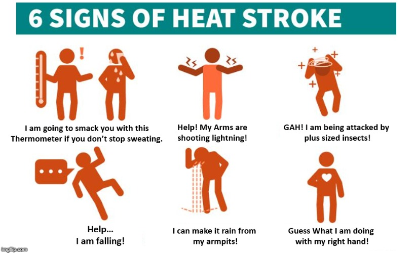 Interpreting the images for HHS Heat Stroke warning | image tagged in heat stroke,safety,health | made w/ Imgflip meme maker