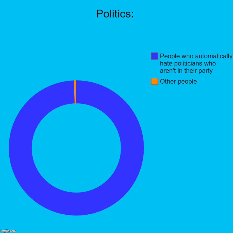 Politics: | Other people, People who automatically hate politicians who aren't in their party | image tagged in charts,donut charts,politics,president,presidents,politicians laughing | made w/ Imgflip chart maker