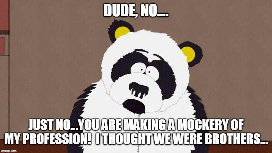 Sexual Harrassment Panda | DUDE, NO.... JUST NO...YOU ARE MAKING A MOCKERY OF MY PROFESSION!  I THOUGHT WE WERE BROTHERS... | image tagged in sexual harrassment panda | made w/ Imgflip meme maker