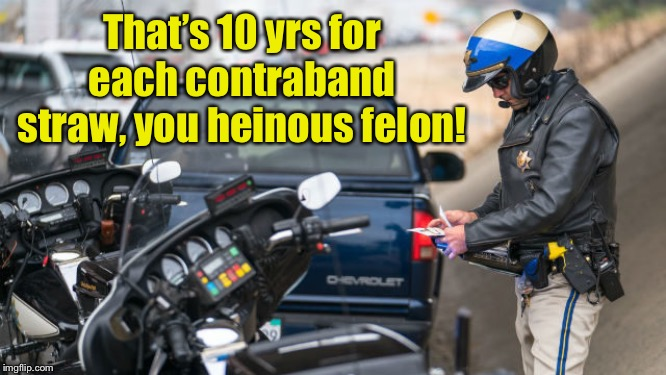 That's 10 yrs for each contraband straw, you heinous felon! | made w/ Imgflip meme maker