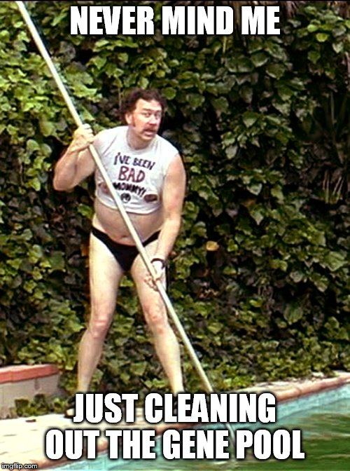 NEVER MIND ME JUST CLEANING OUT THE GENE POOL | image tagged in gene pool,dummy,stupid | made w/ Imgflip meme maker