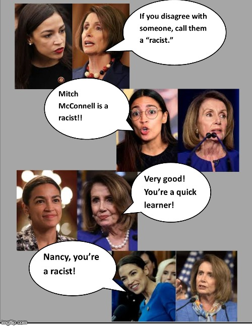 Dems lose patience with 'complete fraud' AOC, rally to Pelosi's side | image tagged in aoc,pelosi,racist,dems,fraud | made w/ Imgflip meme maker