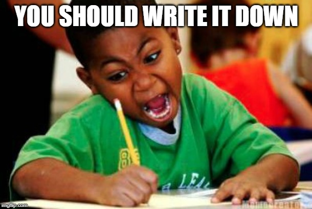 Writing | YOU SHOULD WRITE IT DOWN | image tagged in writing | made w/ Imgflip meme maker
