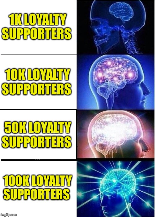 My YouTube Channel goal | 1K LOYALTY SUPPORTERS 10K LOYALTY SUPPORTERS 50K LOYALTY SUPPORTERS 100K LOYALTY SUPPORTERS | image tagged in memes,expanding brain | made w/ Imgflip meme maker