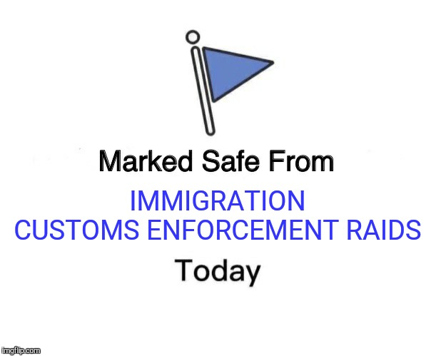 Marked Safe From Meme | IMMIGRATION CUSTOMS ENFORCEMENT RAIDS | image tagged in memes,marked safe from | made w/ Imgflip meme maker