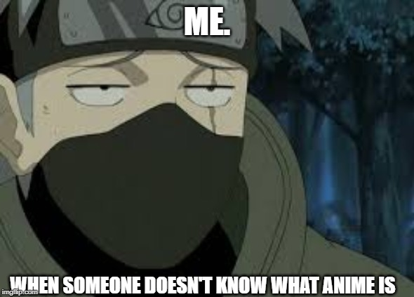 What the hell?! | ME. WHEN SOMEONE DOESN'T KNOW WHAT ANIME IS | image tagged in are you serious kakashi,anime | made w/ Imgflip meme maker