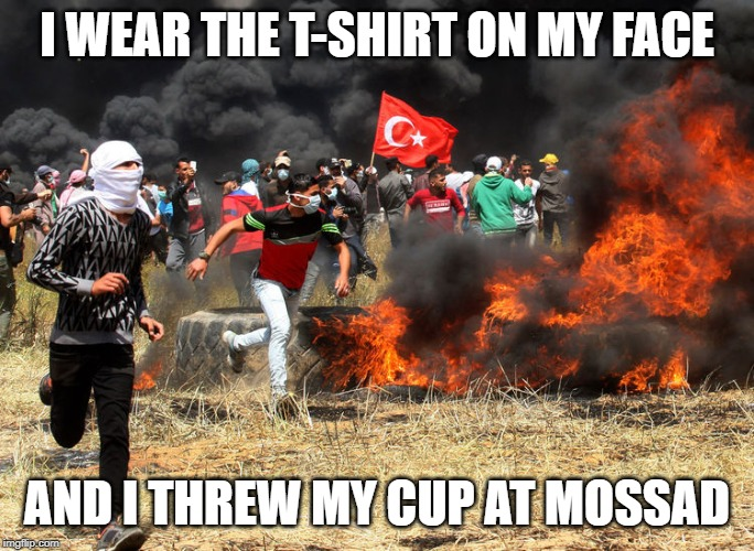 I WEAR THE T-SHIRT ON MY FACE AND I THREW MY CUP AT MOSSAD | made w/ Imgflip meme maker