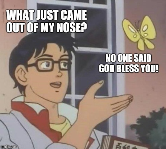Is This A Pigeon Meme | WHAT JUST CAME OUT OF MY NOSE? NO ONE SAID GOD BLESS YOU! | image tagged in memes,is this a pigeon | made w/ Imgflip meme maker