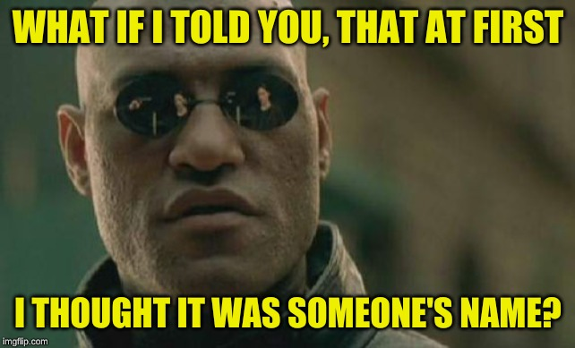 Matrix Morpheus Meme | WHAT IF I TOLD YOU, THAT AT FIRST I THOUGHT IT WAS SOMEONE'S NAME? | image tagged in memes,matrix morpheus | made w/ Imgflip meme maker