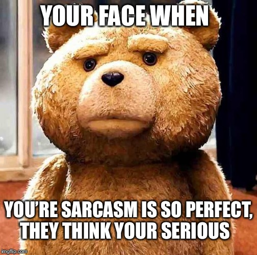 Your/You're Face When (Perfect Sarcasm) | YOUR FACE WHEN YOU'RE SARCASM IS SO PERFECT, THEY THINK YOUR SERIOUS | image tagged in your face when,ted,grammar nazi,grammar,language,sarcasm | made w/ Imgflip meme maker