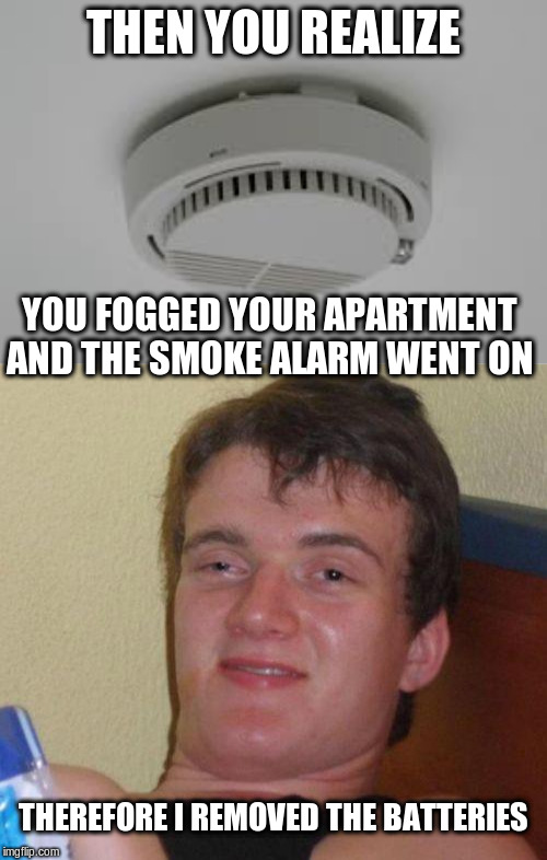 THEN YOU REALIZE YOU FOGGED YOUR APARTMENT AND THE SMOKE ALARM WENT ON THEREFORE I REMOVED THE BATTERIES | image tagged in stoned guy,smoke alarm problems | made w/ Imgflip meme maker