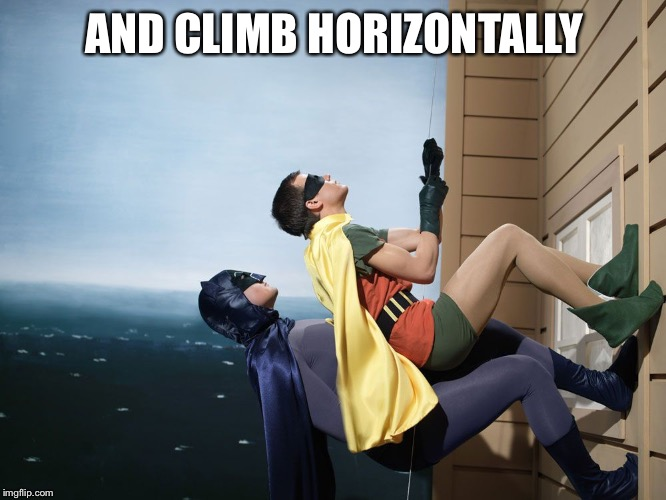batman and robin climbing a building | AND CLIMB HORIZONTALLY | image tagged in batman and robin climbing a building | made w/ Imgflip meme maker