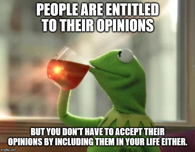 But Thats None Of My Business (Neutral) | PEOPLE ARE ENTITLED TO THEIR OPINIONS BUT YOU DON'T HAVE TO ACCEPT THEIR OPINIONS BY INCLUDING THEM IN YOUR LIFE EITHER. | image tagged in memes,but thats none of my business neutral | made w/ Imgflip meme maker