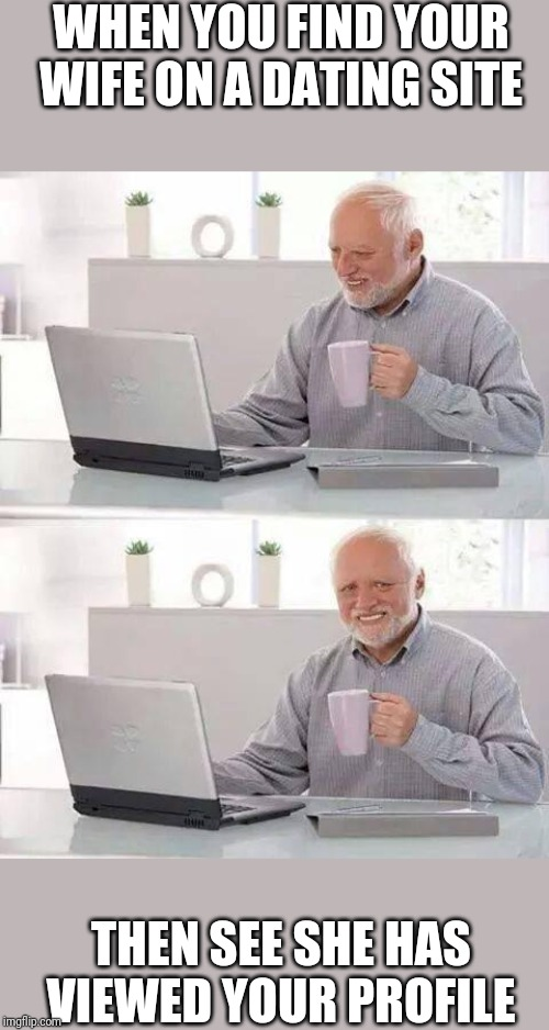 Hide the Pain Harold Meme | WHEN YOU FIND YOUR WIFE ON A DATING SITE THEN SEE SHE HAS VIEWED YOUR PROFILE | image tagged in memes,hide the pain harold | made w/ Imgflip meme maker