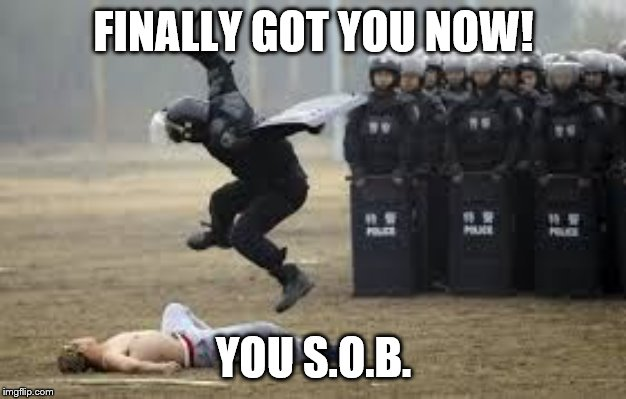 Cop Beat Down | FINALLY GOT YOU NOW! YOU S.O.B. | image tagged in cop beat down | made w/ Imgflip meme maker