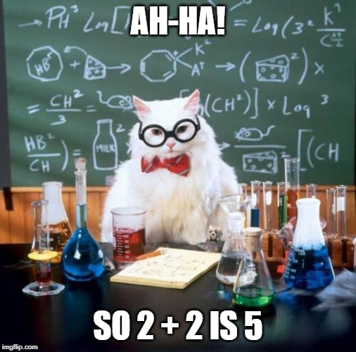 math thingz | AH-HA! SO 2 + 2 IS 5 | image tagged in memes,chemistry cat | made w/ Imgflip meme maker