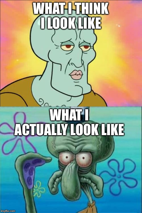 This is why every mirror is gone | WHAT I THINK I LOOK LIKE WHAT I ACTUALLY LOOK LIKE | image tagged in memes,squidward | made w/ Imgflip meme maker