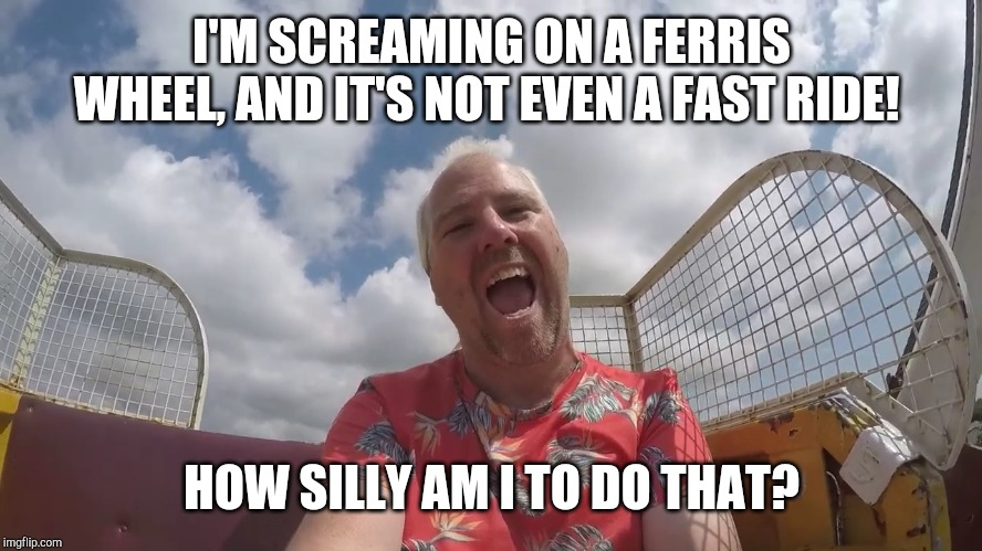 John Horsman screaming on a Ferris Wheel | I'M SCREAMING ON A FERRIS WHEEL, AND IT'S NOT EVEN A FAST RIDE! HOW SILLY AM I TO DO THAT? | image tagged in john horsman screaming on a ride unnecessarily,john horsman,john horsman funfair videos of uk and beyond,theme park review | made w/ Imgflip meme maker