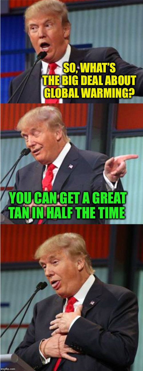 Bad Pun Trump | SO, WHAT'S THE BIG DEAL ABOUT GLOBAL WARMING? YOU CAN GET A GREAT TAN IN HALF THE TIME | image tagged in bad pun trump | made w/ Imgflip meme maker