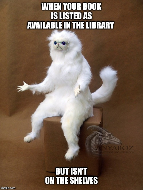 Persian Cat Room Guardian Single | WHEN YOUR BOOK IS LISTED AS AVAILABLE IN THE LIBRARY BUT ISN'T ON THE SHELVES | image tagged in memes,persian cat room guardian single | made w/ Imgflip meme maker
