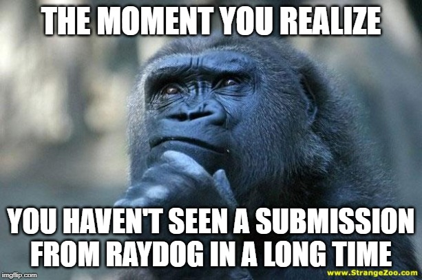Deep Thoughts | THE MOMENT YOU REALIZE YOU HAVEN'T SEEN A SUBMISSION FROM RAYDOG IN A LONG TIME | image tagged in deep thoughts | made w/ Imgflip meme maker