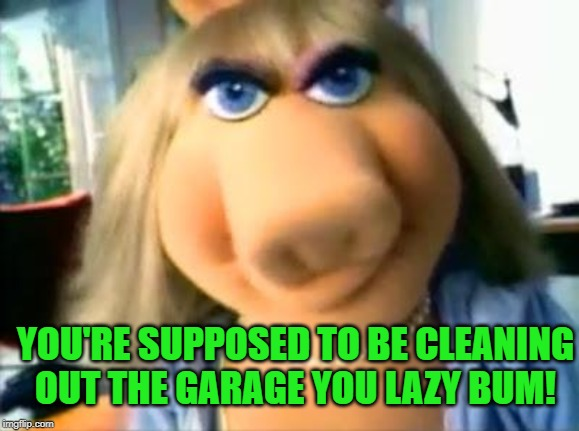 Mad Miss Piggy | YOU'RE SUPPOSED TO BE CLEANING OUT THE GARAGE YOU LAZY BUM! | image tagged in mad miss piggy | made w/ Imgflip meme maker