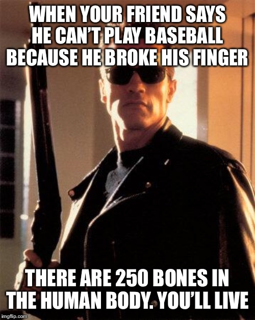 Terminator 2 | WHEN YOUR FRIEND SAYS HE CAN'T PLAY BASEBALL BECAUSE HE BROKE HIS FINGER THERE ARE 250 BONES IN THE HUMAN BODY. YOU'LL LIVE | image tagged in terminator 2 | made w/ Imgflip meme maker
