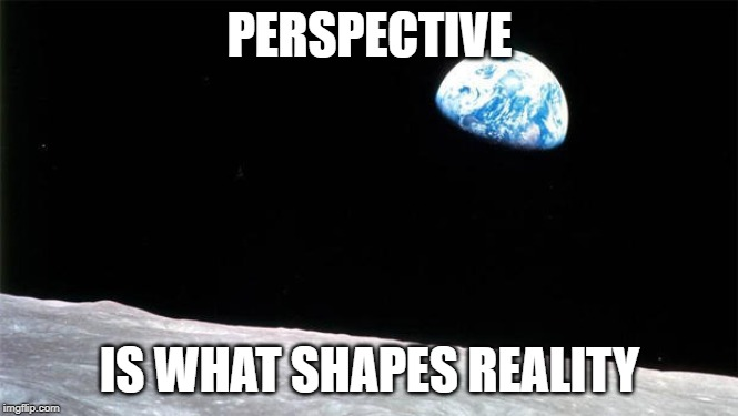 PERSPECTIVE IS WHAT SHAPES REALITY | image tagged in perspective,moon,earth,reality | made w/ Imgflip meme maker