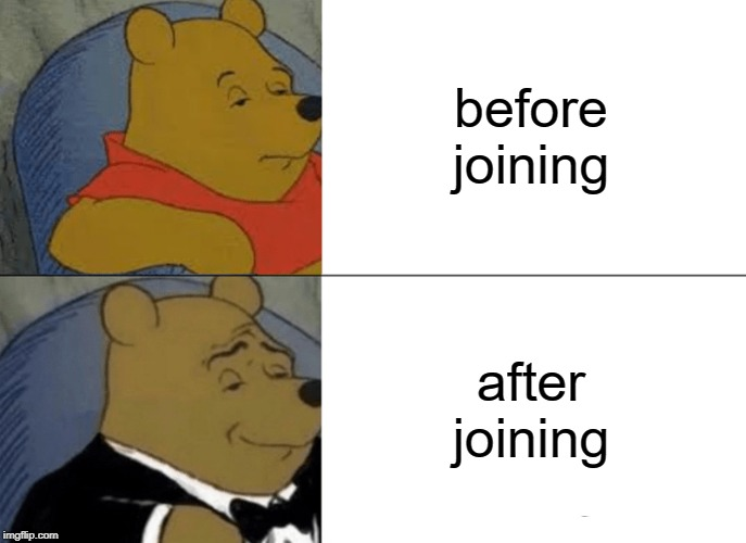 Tuxedo Winnie The Pooh Meme | before joining after joining | image tagged in memes,tuxedo winnie the pooh | made w/ Imgflip meme maker