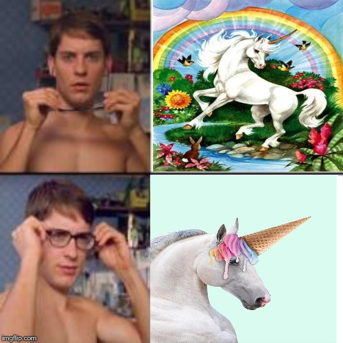 Unicorns are real... If it's a horse with ice cream. | image tagged in peter parker glasses,unicorn,horse,ice cream cone | made w/ Imgflip meme maker