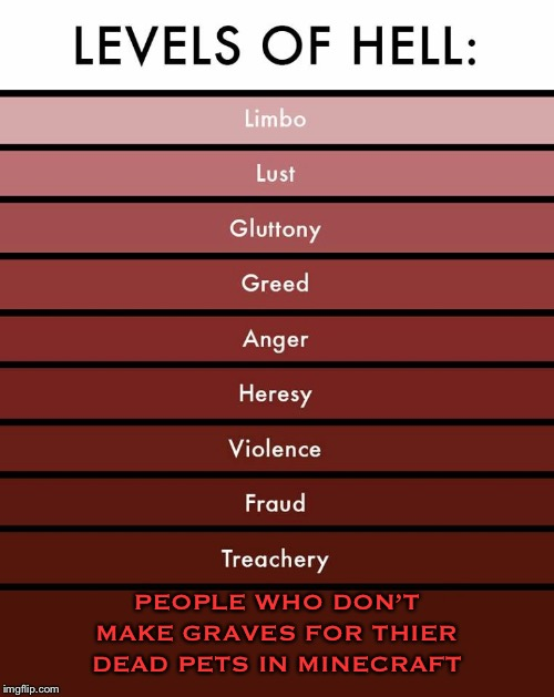 Evil people | PEOPLE WHO DON'T MAKE GRAVES FOR THIER DEAD PETS IN MINECRAFT | image tagged in levels of hell,memes,funny,minecraft | made w/ Imgflip meme maker